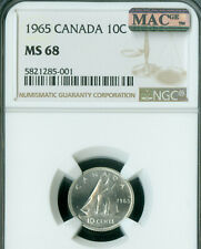 1965 CANADA 10 CENTS NGC MAC MS68 PQ SOLO FINEST GRADE MAC SPOTLESS .