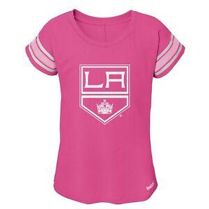 Reebok NHL Youth Girls (7-16) Los Angeles Kings Pink Dolman Short Sleeve T-Shirt