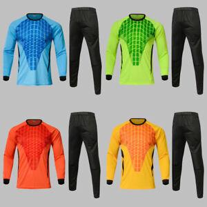 Men's Soccer Goalkeeper T-Shirt Pants Sponge Protector Suit Training Uniform New