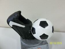 "Nice soccer trophy, cleat or shoe & ball, w/ engraving, about 4"" high, award"