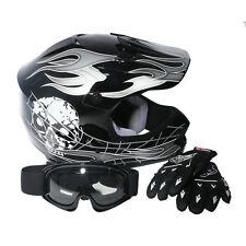New DOT Youth Kids ATV Motocross Dirt Bike Black Skull Helmet w/Goggles+Gloves S