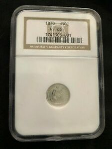 1870 PROOF SEATED LIBERTY HALF DIME NGC PR63  -  800 MINTED