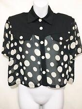 Joseph Ribkoff Womens 10 Black White Polka Dot Sheer Cropped Blouse Shirt