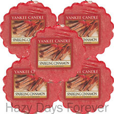 5 YANKEE CANDLE WAX TARTS MELTS Sparkling Cinnamon Christmas Xmas Winter scented