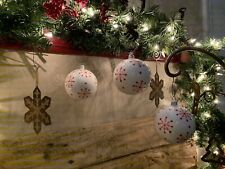 """Set of 3 WHITE with RED SNOWFLAKES Large 3"""" Glass Christmas Ornaments"""