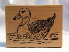 Me & Carrie Lou Duck in Water bird floating pond lake stream Rubber Stamp 1998