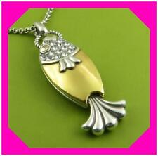 Brighton Ocean Dream Fish Gold Silver Crystal Reversible Long Necklace NWTag