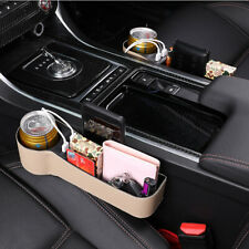 Left+Right Beige PU Leather Car SUV Seat Pocket Storage Catch Box USB Cup Holder