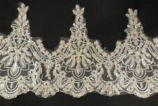 blanco crudo Plateado Cordel Con Lentejuelas Listón de encaje boda bordado Tul