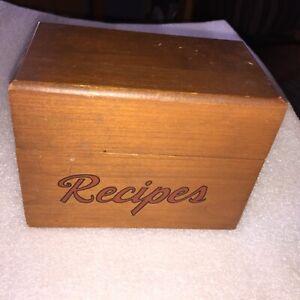 Vintage Wood Recipe File Box