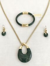 MICHAEL KORS Autumn Luxe Green Jade Necklace/Earrings & Bracelet SetMKJ5775 $335