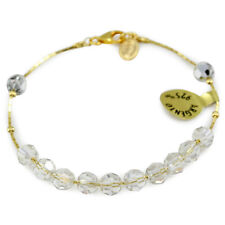 Swarovski Clear Crystal Sliding Beads Rosary Bracelet with Gold Plated Silver Ch