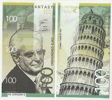 100 Euro 2018 UNC Polymer Banknote - Sergio Mattarella Italy - Tower of Pisa