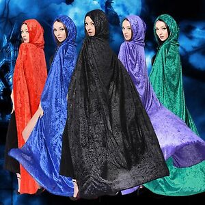 Women Man Adult Witch Ghost Party Costume Velvet Halloween Cape Cloak hood 160cm