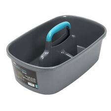 JVL Large Cleaning Storage Basket Caddy with Handle, Teal/Grey
