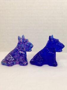 Lot Of 2 Boyd Glass Duke Scottie Dog Cobalt & Carnival.