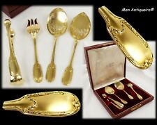 Puiforcat Antique French Sterling Silver gold Hors D'oeuvre Serving Set Pastry