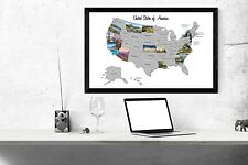 """24""""x32"""" Scratch Off Map United States USA State Photographs w/ Tool Fun Travel"""