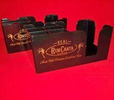 Set of Two Rum Chata Black Plastic Bar Caddy Napkin Swizzle Stick Holders - New!
