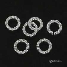 10 Sterling Silver Twist Rope Open Jump Ring 5mm x 1.0mm 18ga  #97868