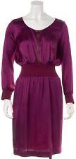 YVES SAINT LAURENT Purple Zip Front Pleated Blouson Dress Size 4 IT 40