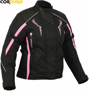 LADIES PINK/BLACK EMBROIDERY STYLE WOMENS CE MOTORBIKE MOTORCYCLE TEXTILE JACKET