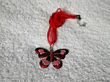 Brand New RED Coloured RHINESTONES On Two-Tone BUTTERFLY NECKLACE gift B