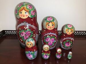 """Beautiful Russian Hand PaintedNesting Dolls Signed Moscow 7 PC. SET, 8"""""""