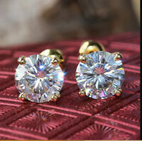 5Ct Round Cut Moissanite Solitaire Stud Screw Back Earrings 14K Yellow Gold Over