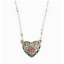PINK CROSS HEART NECKLACE WITH TWO FREE PRAYER CARDS