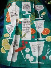 VINTAGE Ulster Linen Kitchen Tea Towel Cocktail Recipes Unused