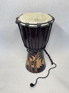 Afrikanische Trommel 30cm hoch, Bongo Djembe Durchmesser 17cm Holz/Leder #2752
