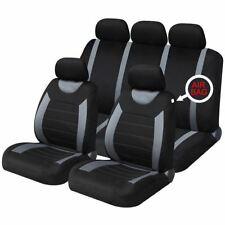 TOYOTA AYGO 05-ON Black White Pipe Front Pair Car Seat Covers Set