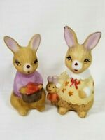 Vintage Porcelain Bunny Rabbit Family Figurine Anthropomorphic Easter Decoration