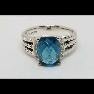 David Yurman Sterling Silver Petite Blue Topaz & Diamond Wheaton Ring Size 5