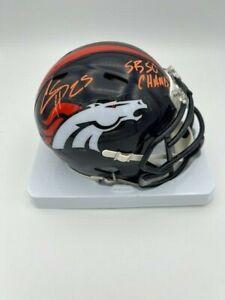 Chris Harris Signed Denver Broncos Speed Mini Helmet SB 50 Champ No Fly Zone COA