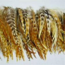 Strung Natural Chinchilla Rooster Saddle Feathers  US Seller