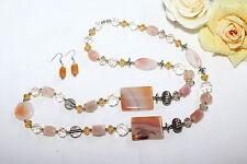 Schmuckset Halskette Ohrringe Achat 925 Silber Perlen Schmuck Steinschmuck