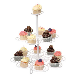 Swift 2 Tier White Cup Cake Tree Holder Stand Display Party Bake Gift Decorative