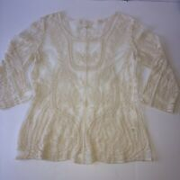 ULTRA PINK Womens Ivory Boho Peasant Blouse Crochet Lace Round Neck Long Sleeve