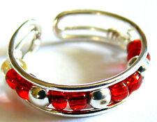 BAGUE DE PIED/ORTEIL METAL ANNEAU TOE RING ANILLO DE PIE STRASS perles rouge