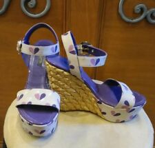 3a3921508f62 Louis Vuitton Tuileries Pink Purple Heart Straw Covered Wedges Sz 35 1 2  Italy