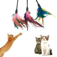 1PC Fun Kitten Toy Cat Feather Bell Wand Teaser Rod Bead Play Ball Pet Toys Top