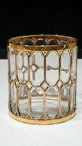 "IMPERIAL GLASS GOLD WINDOWPANE 3.5"" OLD FASHION GLASS TUMBLER MCM"