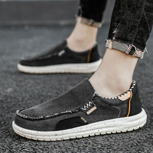 Mens Comfy Round Toe Slip On Loafers Pumps Casual Canvas Driving Flats Boat Shoe