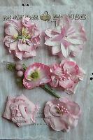 CELESTE Mix PINK 2 Toned 1ea 6Styles 6PAPER & SILK Flowers 35-55mm Across MHConB
