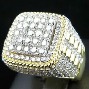 Mens Large Iced Square Pinky Ring Cz Band Gold Plated Hip Hop Fashion