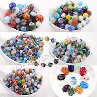 Wholesale 20/50pcs Mixed Shape Millefiori Glass Beads Craft Charm Jewelry Making