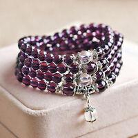 EE_ Crystal Stone Buddhist Amethyst 108 Prayer Beads Mala Bracelet Necklace Uniq
