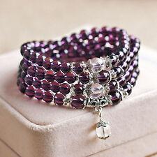 Crystal Stone Buddhist Amethyst 108 Prayer Beads Mala Bracelet Necklace Unique